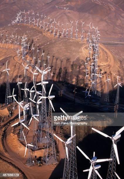 Aerial view of wind turbines on Tehachapi Pass, Mojave Desert, California, United States