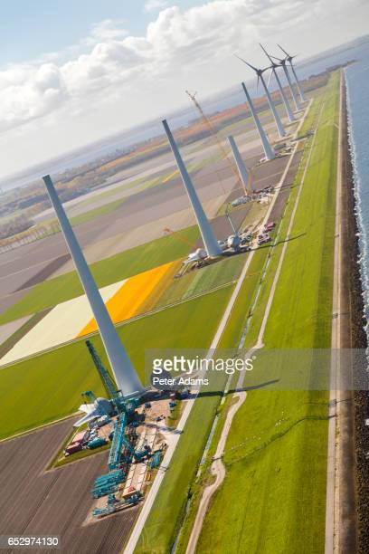 Aerial view of wind turbines under construction, North Holland, Netherlands