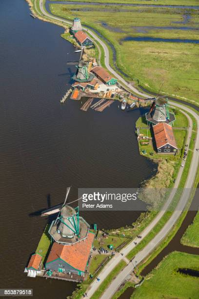 Aerial view of windmills in Zaanse Schans