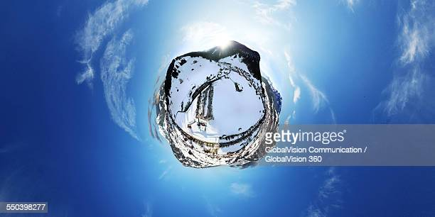 360° aerial view of Winter in Gstaad