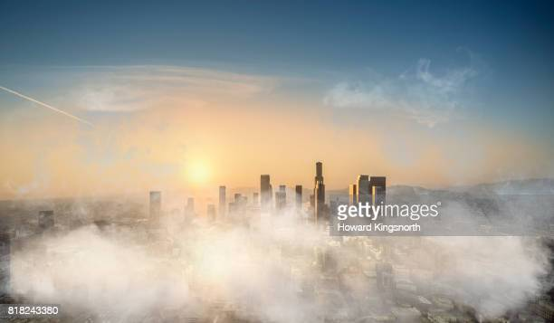 Aerial view of LA with misty sky at dusk