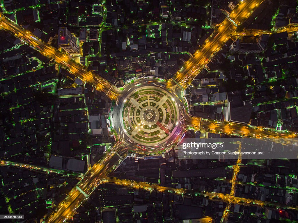 Aerial View of wong wien yai round about, Bangkok Thailand.