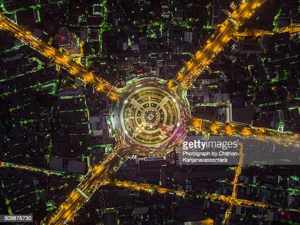 Aerial View of wong wien yai round about, Bangkok Thailand.