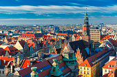 Aerial view of Stare Miasto with Market Square and Old Town Hall from St. Mary Magdalene Church in Wroclaw, Poland