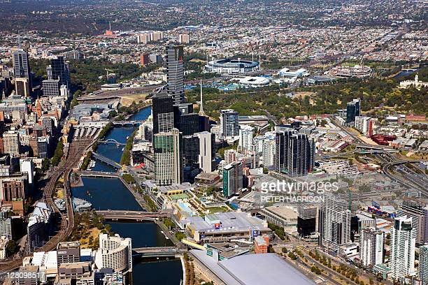 Aerial view of Yarra River and Southbank, Melbourne, Victoria, Australia