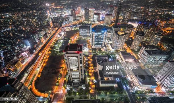 Luftaufnahme von Yokohama in der Nacht
