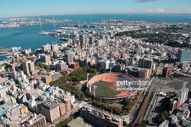 Aerial view of Yokohama City, Kanagawa Prefecture, Honshu, Japan