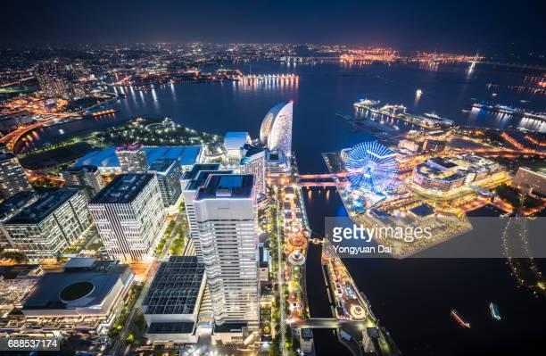 Aerial View of Yokohama Minato Mirai 21 at Night