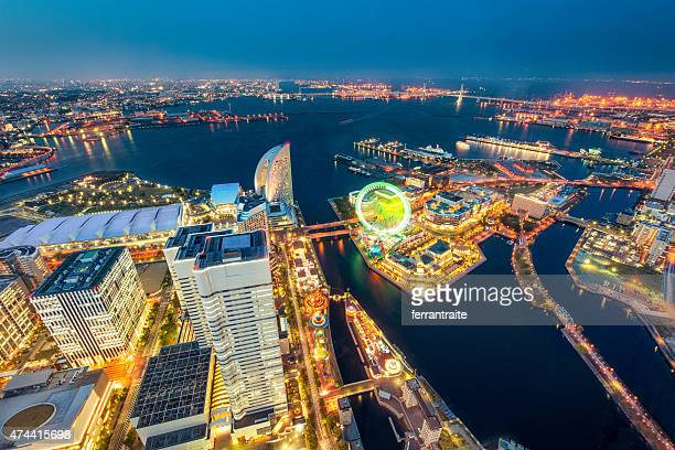 空から見た横浜、日本の街並み