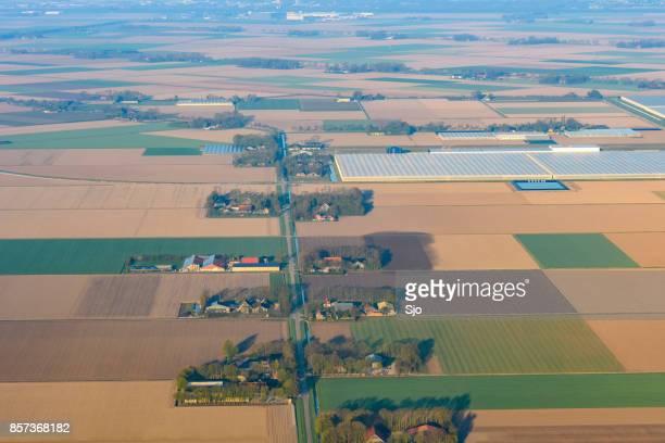 Luchtfoto op landbouw landschap in Flevoland, Nederland