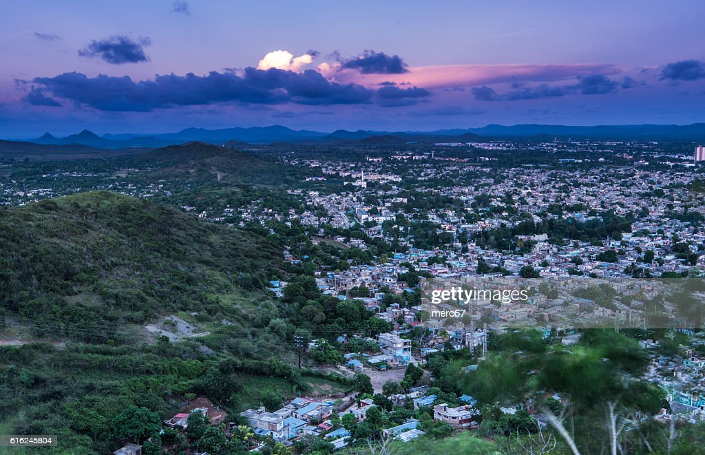 Aerial view on city of Holguin in Cuba : Stock Photo