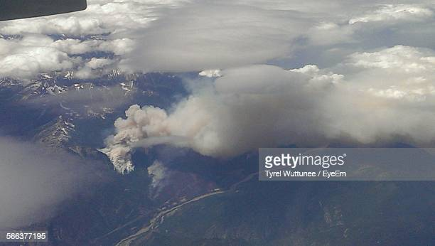 Aerial View On Forest Fire On Mountains