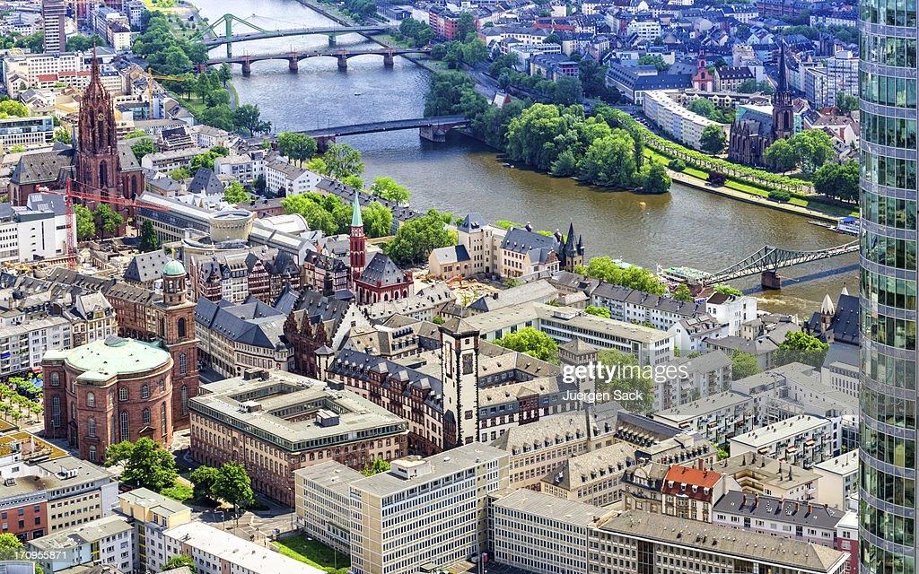 Aerial view on Frankfurt Roemer, Paulskirche and Main