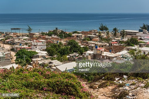 Aerial view on Gibara, colonial city in Cuba. : Stock Photo
