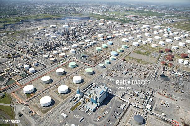 aerial view on oil tanks