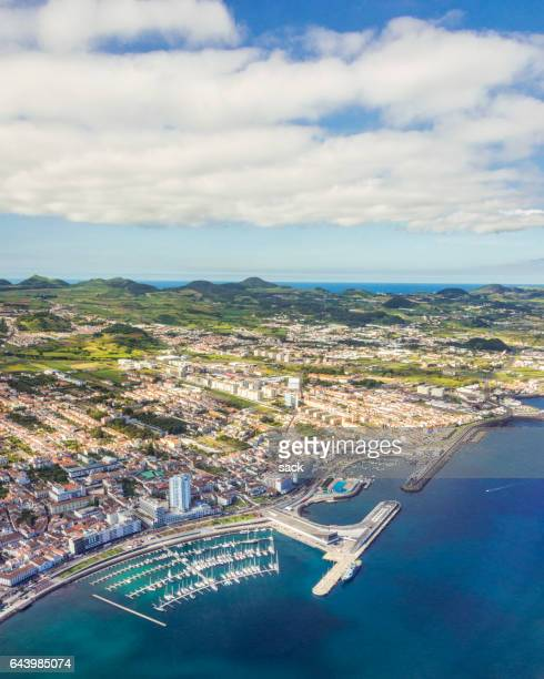 Aerial view on Ponta Delgada and over Sao Miguel (Azores)