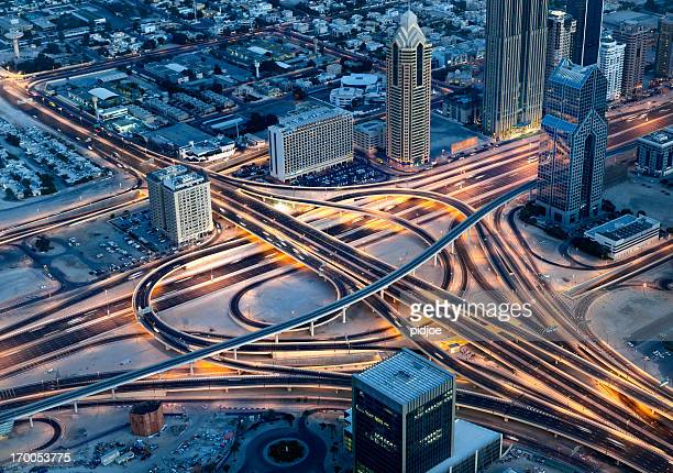 Aerial view on Sheikh Zayed Road, Dubai Downtown at night