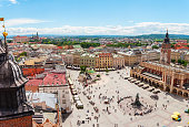 Aerial view on the central square and Sukiennice in Krakow. Market Square from the tower of the church of St. Mary. Poland. Cloth Hall.