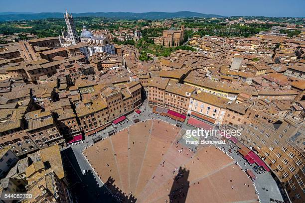 Aerial view on the Piazza del Campo and the roofs of the city seen from the Torre del Mangia