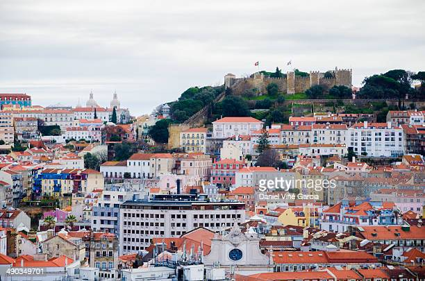 Aerial view on the roofs of Lisbon