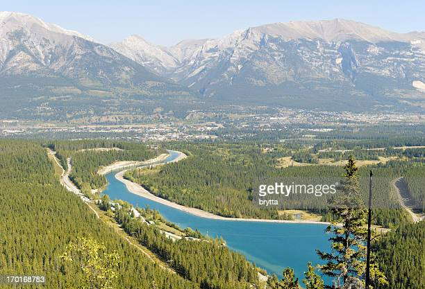 Aerial view  on the town of Canmore , Alberta,Canada.