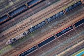 Aerial view on wagons with black coal. Coal transportationAerial view on wagons with black coal. Coal transportation
