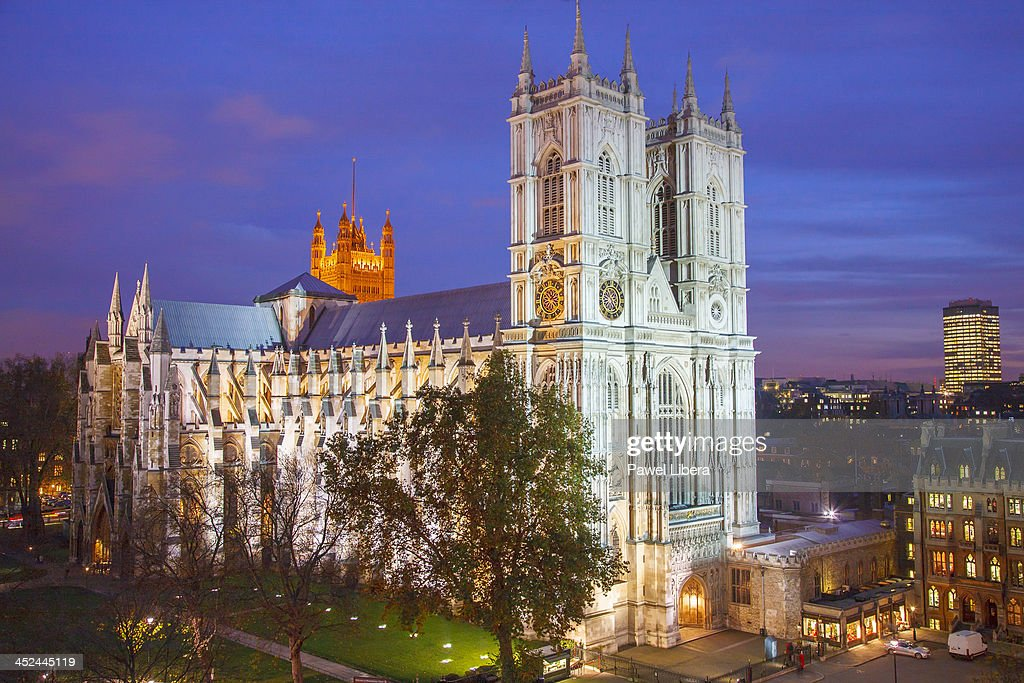 Aerial view on Westminster Abbey at night