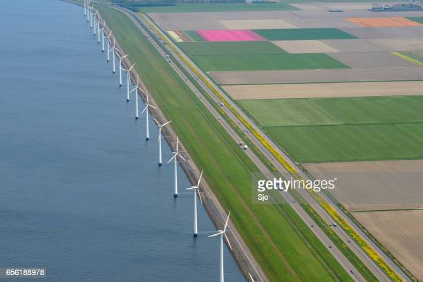 Aerial view on wind turbines, levee, highway and tulip flowers