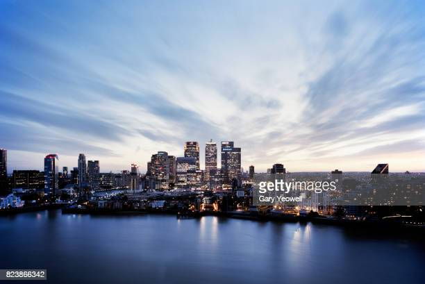 Aerial view over Canary Wharf skyline in London