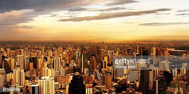 Aerial view over city of Bangkok at sunset