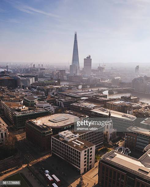 Aerial view over city of London