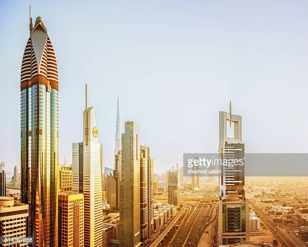 Aerial view over Dubai city skyline