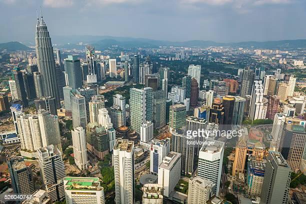 Aerial view over Kuala Lumpur Petrona Towers skyscraper cityscape Malaysia