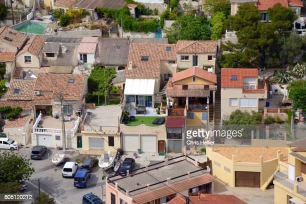 Aerial View over La Vesse Coastal Village near Marseille