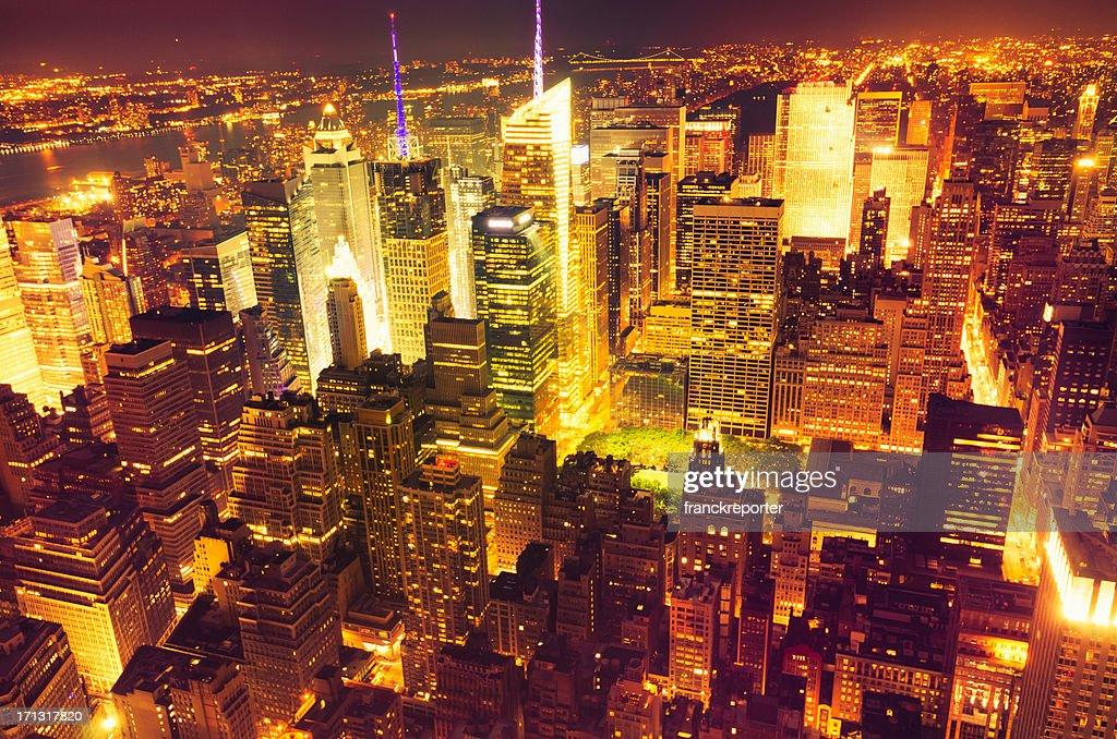 Aerial View over Manhattan Skyline