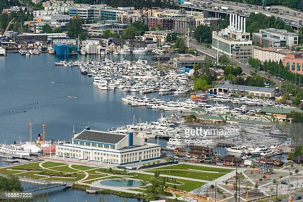 Aerial view over marina harbor Lake Union Seattle USA