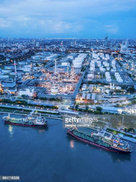 Aerial view over petrochemical and oil refinery plant in Bangkok, Thailand