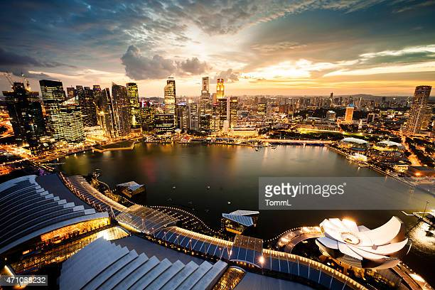 Aerial View Over Singapore Marina Bay