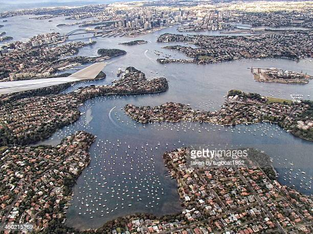 Aerial view over Sydney Harbour
