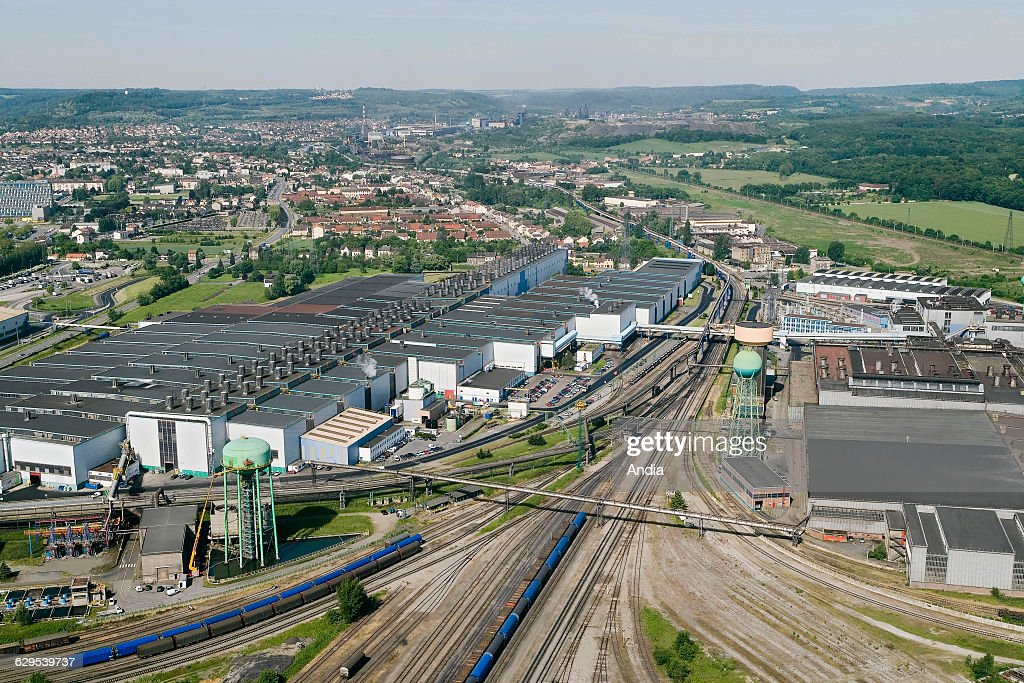 Aerial view over the Arcelor iron and steel factory in Hayange Florange in the Fensch Valley