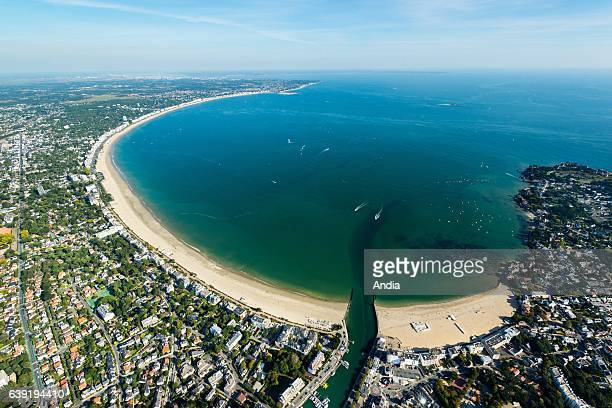 Aerial view over the bay of La Baule with the beach of La Baule and the marina of Le Pouliguen The beach and the waterfront