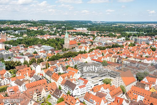 Aerial view over the city of Ulm : Stock Photo
