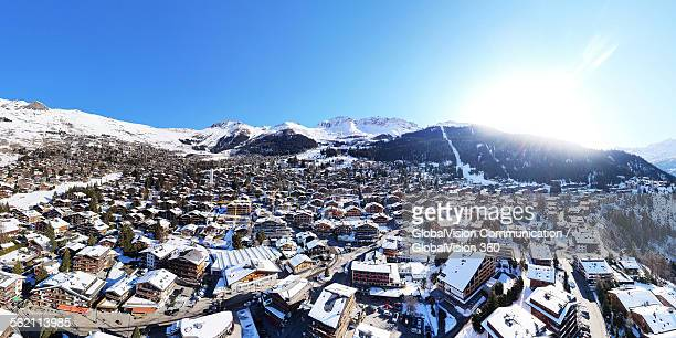 Aerial view over Verbier, Switzerland