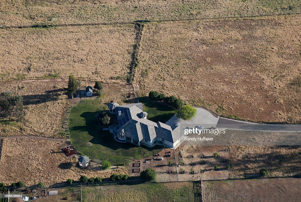 Aerial view overlooking landscaping on April 4 2015 in Ramona California Gov Jerry Brown has demanded a 25 percent cut in urban water useage due to a...