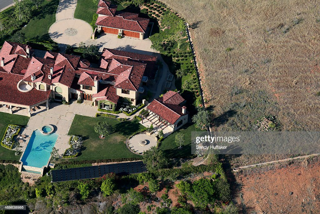 Aerial view overlooking landscaping on April 4 2015 in Rancho Santa Fe California Gov Jerry Brown has demanded a 25 percent cut in urban water useage...
