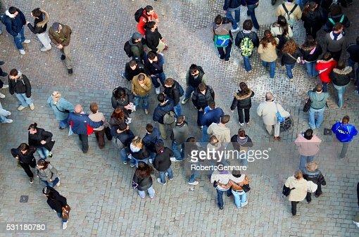 Aerial view people on Charles Bridge Prague Czech Republic