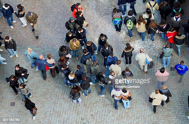 Aerial view people on Charles Bridge Prague Czech Republic