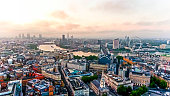 4K Aerial View Image Photo Of Beautiful Sunrise at The City of London Skyline Iconic Landmarks and Famous Skyscrapers in England UK
