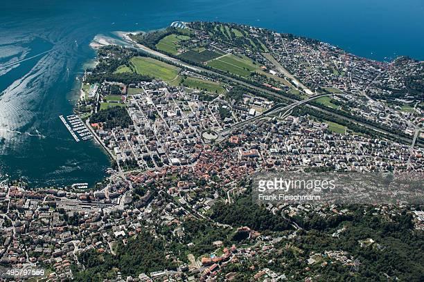 Aerial view, river delta, Lake Maggiore, Locarno, Kanton Tessin, Switzerland