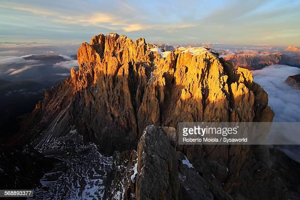 Aerial view Sassolungo Dolomites Italy